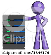 Purple Design Mascot Woman With Server Rack Leaning Confidently Against It