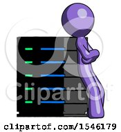 Purple Design Mascot Man Resting Against Server Rack Viewed At Angle