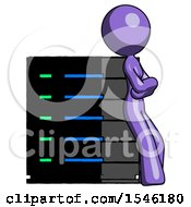 Purple Design Mascot Woman Resting Against Server Rack Viewed At Angle