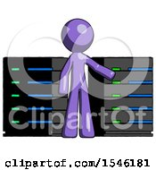 Purple Design Mascot Man With Server Racks In Front Of Two Networked Systems
