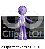 Purple Design Mascot Woman With Server Racks In Front Of Two Networked Systems