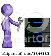 Purple Design Mascot Man Server Administrator Doing Repairs
