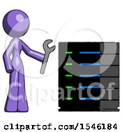 Purple Design Mascot Woman Server Administrator Doing Repairs