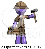Purple Explorer Ranger Man Holding Tools And Toolchest Ready To Work