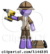 Purple Explorer Ranger Man Holding Drill Ready To Work Toolchest And Tools To Right