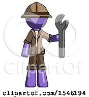Purple Explorer Ranger Man Holding Wrench Ready To Repair Or Work