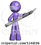 Purple Design Mascot Man Holding Large Scalpel