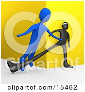Unsuspecting Blue Man Being Tripped By A Black Robber As He Turns A Corner Clipart Illustration Image