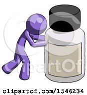 Purple Design Mascot Man Pushing Large Medicine Bottle