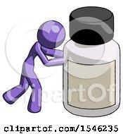 Purple Design Mascot Woman Pushing Large Medicine Bottle
