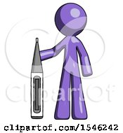 Purple Design Mascot Man Standing With Large Thermometer