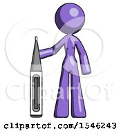Purple Design Mascot Woman Standing With Large Thermometer