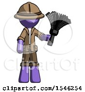 Purple Explorer Ranger Man Holding Feather Duster Facing Forward