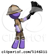 Purple Explorer Ranger Man Dusting With Feather Duster Upwards