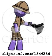 Purple Explorer Ranger Man Dusting With Feather Duster Downwards