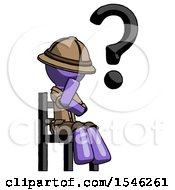 Purple Explorer Ranger Man Question Mark Concept Sitting On Chair Thinking