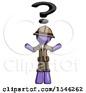 Purple Explorer Ranger Man With Question Mark Above Head Confused