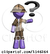 Purple Explorer Ranger Man Holding Question Mark To Right