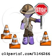 Purple Explorer Ranger Man Holding Stop Sign By Traffic Cones Under Construction Concept