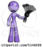 Purple Design Mascot Woman Holding Feather Duster Facing Forward
