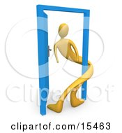 Yellow Person Twisted Around The Frame Of An Open Blue Door Symbolizing Lonliness Split Personalities Uncertainty And An Egotistical Person