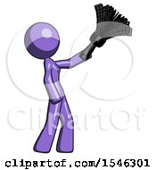 Purple Design Mascot Woman Dusting With Feather Duster Upwards