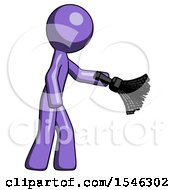 Purple Design Mascot Man Dusting With Feather Duster Downwards