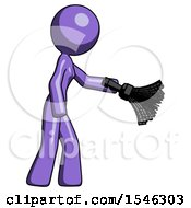 Purple Design Mascot Woman Dusting With Feather Duster Downwards