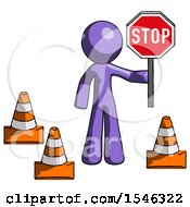 Purple Design Mascot Man Holding Stop Sign By Traffic Cones Under Construction Concept
