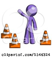 Purple Design Mascot Man Standing By Traffic Cones Waving