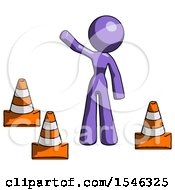 Purple Design Mascot Woman Standing By Traffic Cones Waving