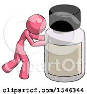 Pink Design Mascot Woman Pushing Large Medicine Bottle