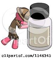 Pink Explorer Ranger Man Pushing Large Medicine Bottle