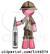 Pink Explorer Ranger Man Standing With Large Thermometer