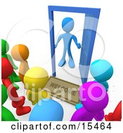 Surprised Blue Person Standing At An Open Door With A Welcome Mat Looking Out At A Crowd Of Welcome But Unsuspected Visitors Clipart Illustration Image