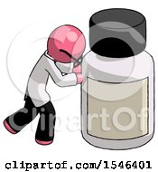 Pink Doctor Scientist Man Pushing Large Medicine Bottle