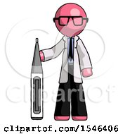 Pink Doctor Scientist Man Standing With Large Thermometer