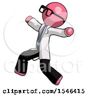 Pink Doctor Scientist Man Running Away In Hysterical Panic Direction Left