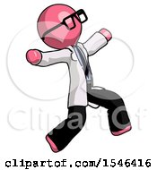 Pink Doctor Scientist Man Running Away In Hysterical Panic Direction Right
