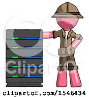 Pink Explorer Ranger Man With Server Rack Leaning Confidently Against It