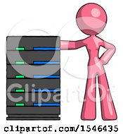 Pink Design Mascot Woman With Server Rack Leaning Confidently Against It