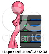 Pink Design Mascot Woman Resting Against Server Rack