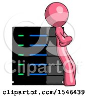 Pink Design Mascot Man Resting Against Server Rack Viewed At Angle