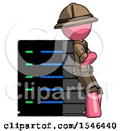 Pink Explorer Ranger Man Resting Against Server Rack Viewed At Angle