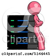 Pink Design Mascot Woman Resting Against Server Rack Viewed At Angle