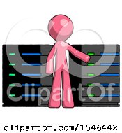 Pink Design Mascot Man With Server Racks In Front Of Two Networked Systems