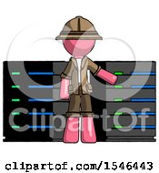 Pink Explorer Ranger Man With Server Racks In Front Of Two Networked Systems