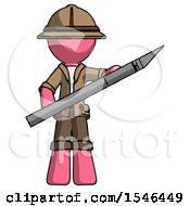 Pink Explorer Ranger Man Holding Large Scalpel