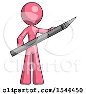 Pink Design Mascot Woman Holding Large Scalpel
