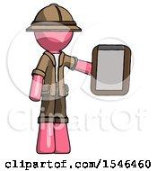 Pink Explorer Ranger Man Showing Clipboard To Viewer